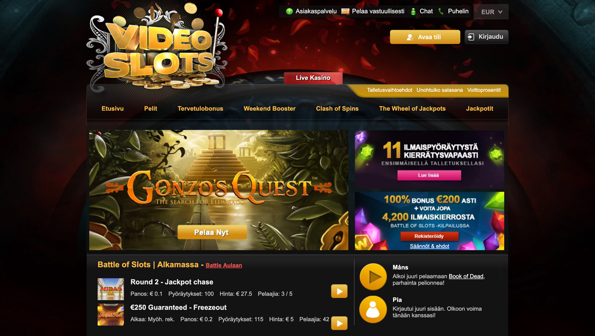 Videoslots-casino-etusivu