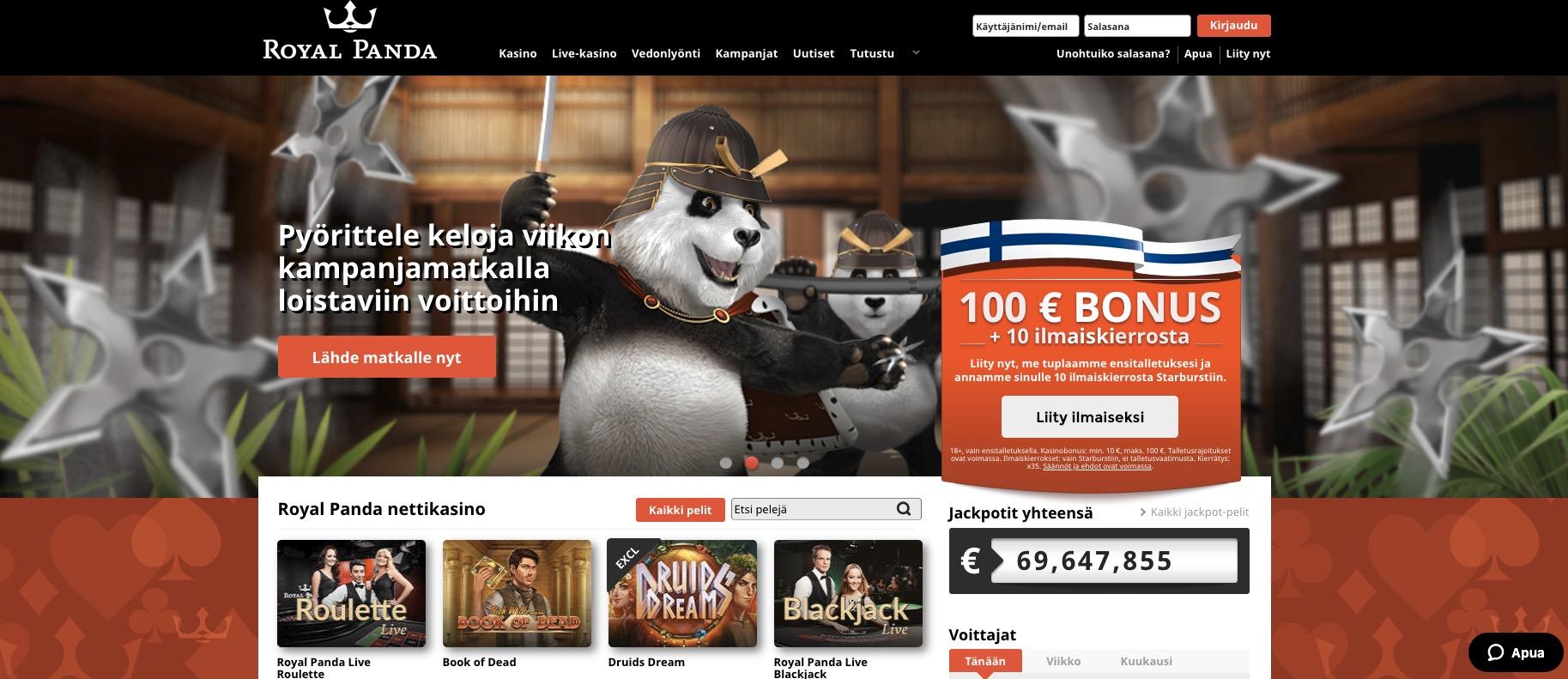 Royal Panda Casino etusivu